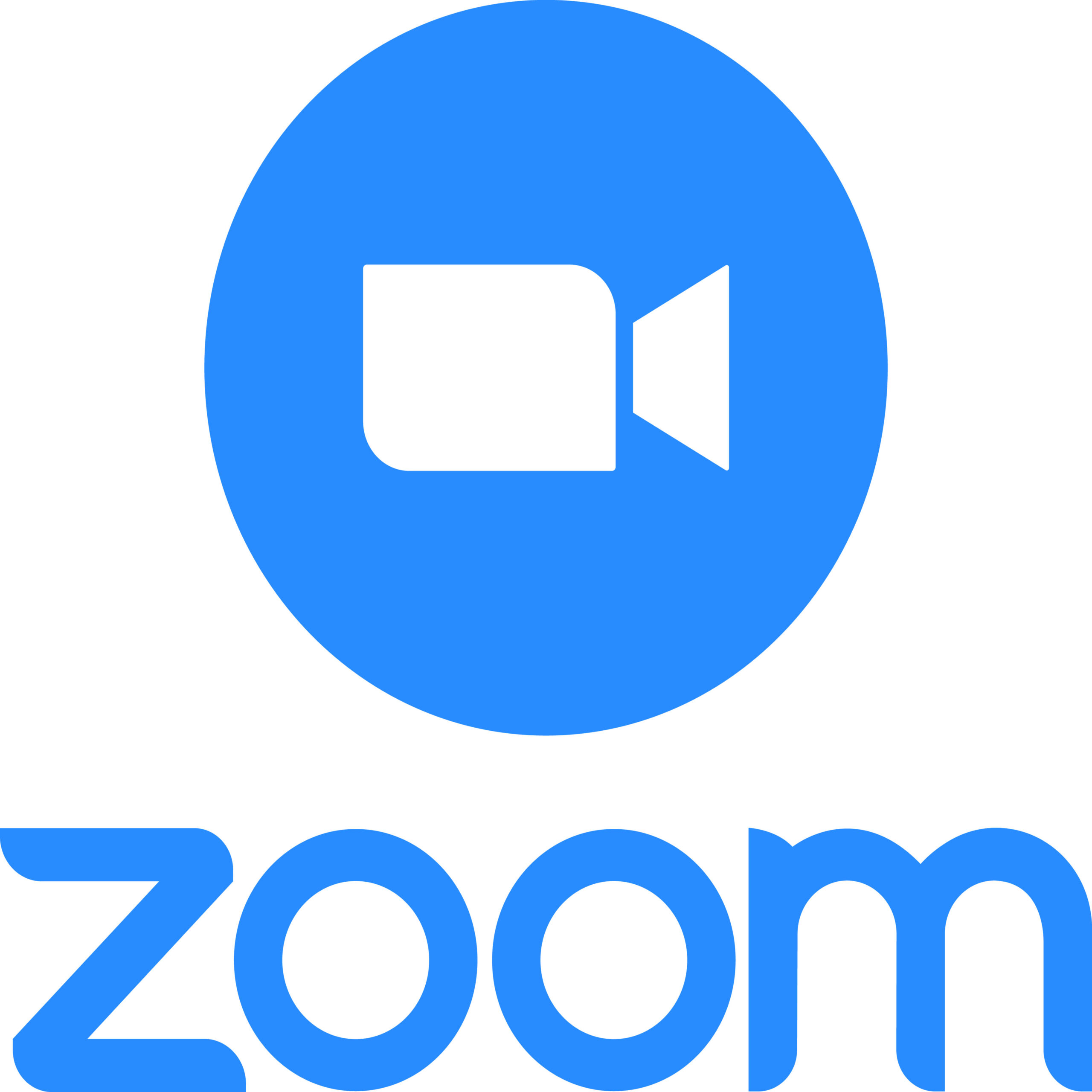 Zoom Video Communications. Zoom logo. Application for video communications with cloud platform for video and audio conferencing, chat, and webinars. Blue camera icon. Kyiv, Ukraine - June 8, 2020