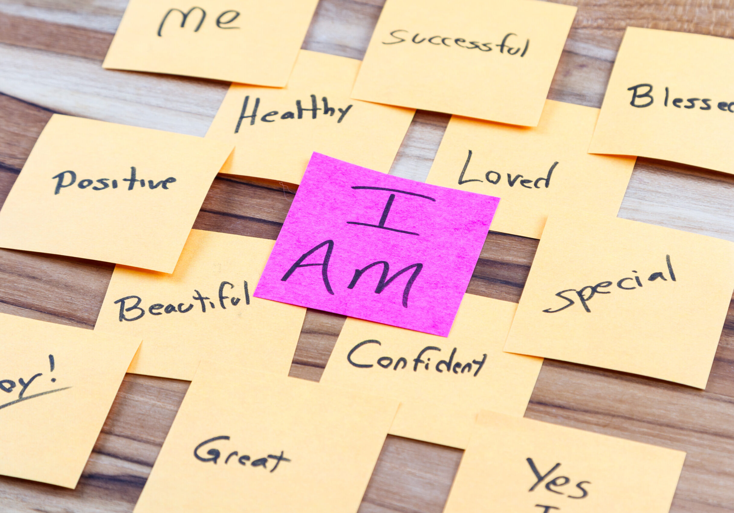 very powerful self help concept using positive messages and a I am floating above all the positive thoughts